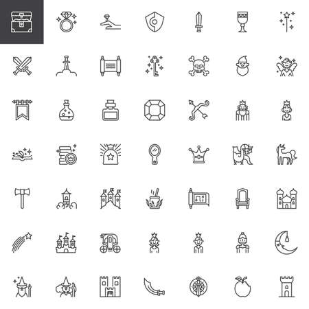 Fairytale outline icons set. linear style symbols collection, line signs pack. vector graphics. Set includes icons as Treasure, Diamond, Shield, Sword, Excalibur, Letter, Key, Magic Fairy Potion