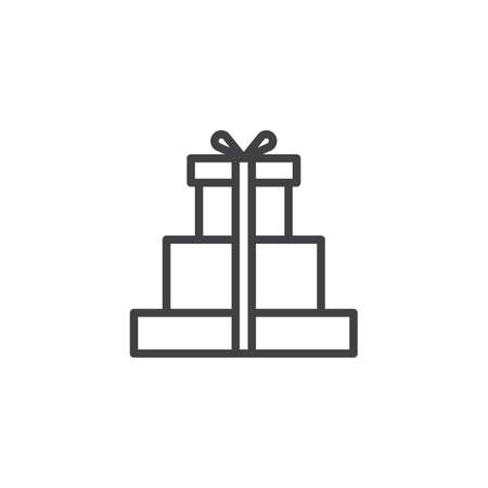 Gift boxes with bow and ribbon outline icon. linear style sign for mobile concept and web design. Ilustração