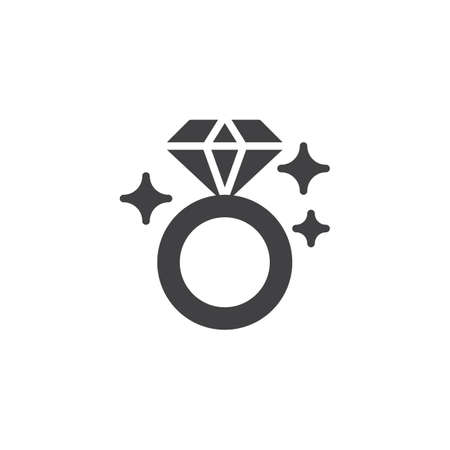 Shiny diamond ring vector icon. filled flat sign for mobile concept and web design. Engagement ring simple solid icon. Symbol, icon illustration. Pixel perfect vector graphics. Illustration