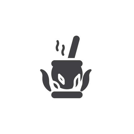 Cauldron on the fire vector icon. filled flat sign for mobile concept and web design. Magic Potion cooking simple solid icon. Symbol, logo illustration. Pixel perfect vector graphics
