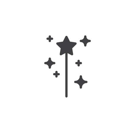 Magic wand vector icon. filled flat sign for mobile concept and web design. Fairy wand simple solid icon. Symbol, logo illustration. Pixel perfect vector graphics