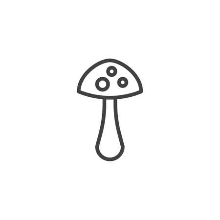 Mushroom outline icon. linear style sign for mobile concept and web design. Hallucinogenic fungus simple line vector icon. Symbol, logo illustration. Pixel perfect vector graphics Illustration