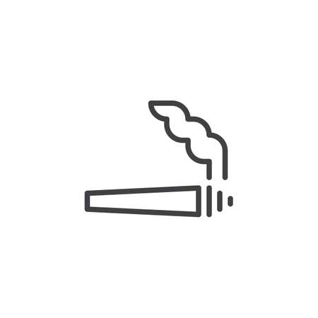 Marijuana jamb outline icon. linear style sign for mobile concept and web design. Cannabis cigarette simple line vector icon. Symbol, logo illustration. Pixel perfect vector graphics Illustration