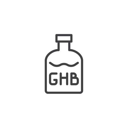 GHB bottle outline icon. linear style sign for mobile concept and web design. Drugs simple line vector icon. Symbol, logo illustration. Pixel perfect vector graphics 스톡 콘텐츠