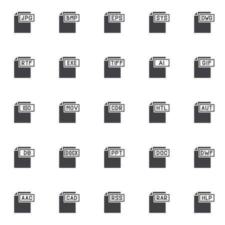 Computer file formats vector icons set, modern solid symbol collection, filled style pictogram pack. Signs, logo illustration. Set includes icons as jpg format document, bmp , eps , sys , dwg , rtf