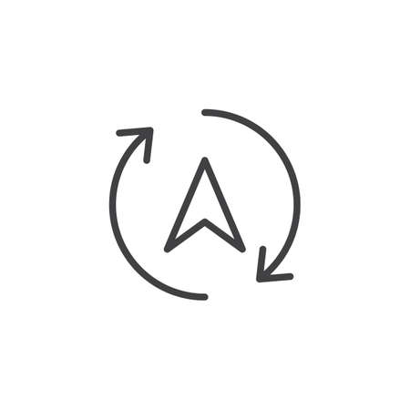 Rotation arrows and navigation cursor outline icon