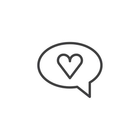 Speech bubble with heart outline icon in linear style sign for mobile concept and web design.