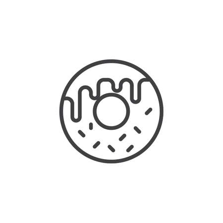 Doughnut outline icon. linear style sign for mobile concept and web design. Donut simple line vector icon. Symbol, logo illustration. Pixel perfect vector graphics
