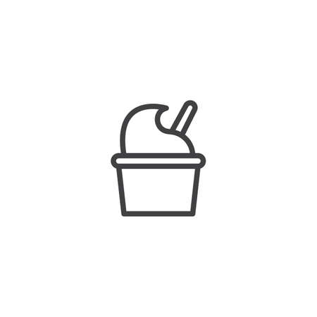 Ice cream cup outline icon. linear style sign for mobile concept and web design. Take away dessert food simple line vector icon. Symbol, logo illustration. Pixel perfect vector graphics Illustration
