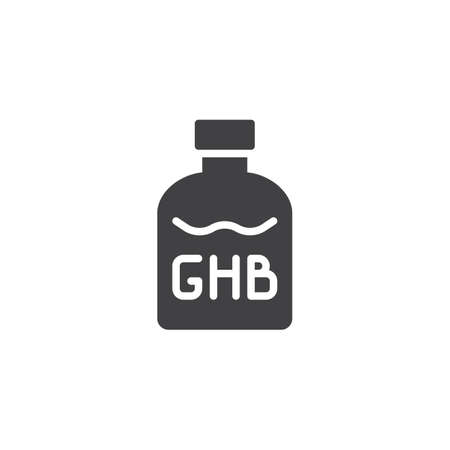GHB bottle vector icon. filled flat sign for mobile concept and web design. Drugs simple solid icon. Symbol, logo illustration. Pixel perfect vector graphics