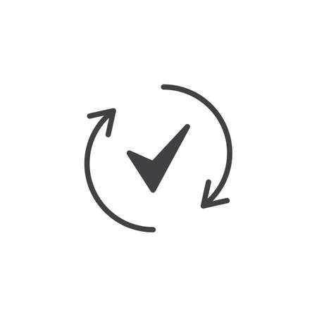 Rotate arrows and check mark vector icon. Filled flat sign for mobile concept and web design. Done simple solid icon. Symbol, logo illustration. Pixel perfect vector graphics Illustration