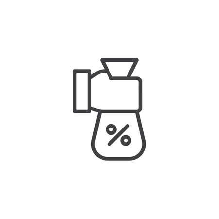 Hand holding percent money bag outline icon