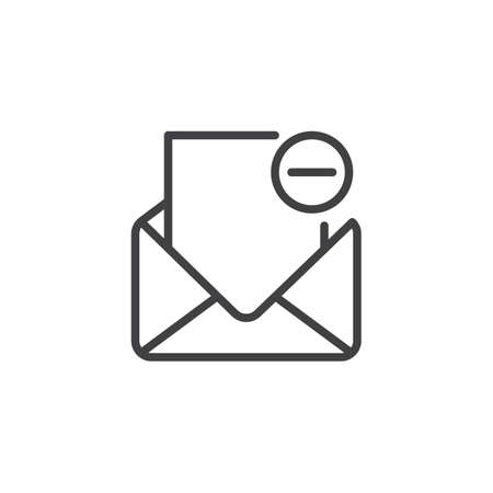 Remove mail outline icon. linear style sign for mobile concept and web design. Delete email simple line vector icon. Open envelope minus symbol, logo illustration. Pixel perfect vector graphics