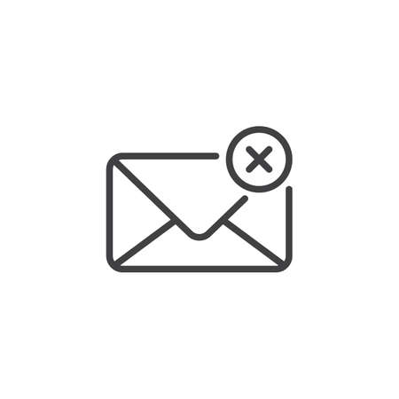 Delete e-mail outline icon. linear style sign for mobile concept and web design. Mail Denied simple line vector icon. Symbol, logo illustration. Pixel perfect vector graphics Illustration