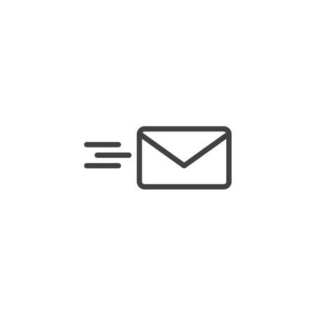 Sending mail outline icon. linear style sign for mobile concept and web design. Flying Envelope simple line vector icon. Send e-mail symbol, logo illustration. Pixel perfect vector graphics Illustration
