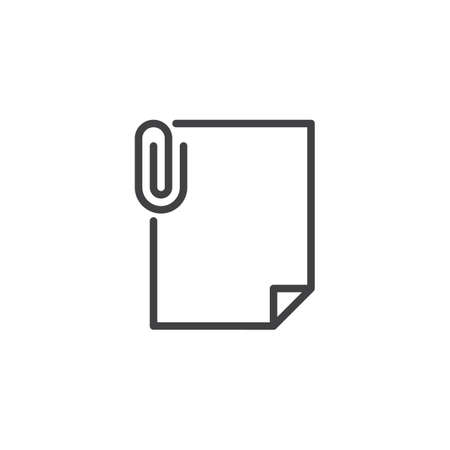File attachment outline icon. linear style sign for mobile concept and web design. Paper document with paper clip simple line vector icon. Symbol, logo illustration. Pixel perfect vector graphics
