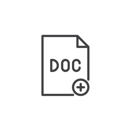 Add file doc outline icon. linear style sign for mobile concept and web design. Paper document plus simple line vector icon. Symbol, logo illustration. Pixel perfect vector graphics 写真素材