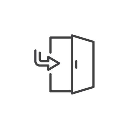 Exit door outline icon. linear style sign for mobile concept and web design. Enter Doorway simple line vector icon. Symbol, logo illustration. Pixel perfect vector graphics  イラスト・ベクター素材