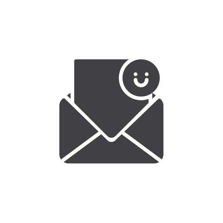 Open envelope and smile emoji vector icon. filled flat sign for mobile concept and web design. Happy message simple solid icon. Symbol, logo illustration. Pixel perfect vector graphics Vectores