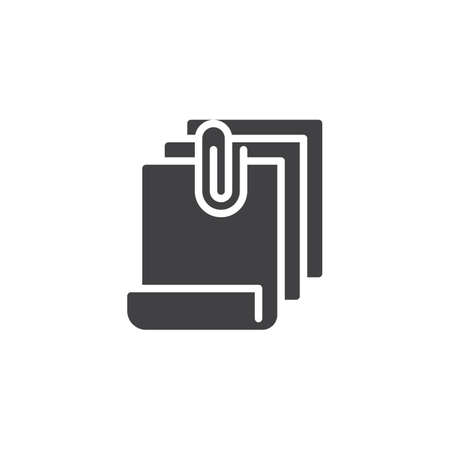 File attach vector icon. filled flat sign for mobile concept and web design. Attachment documents with paper clip simple solid icon. Symbol, logo illustration. Pixel perfect vector graphics 向量圖像