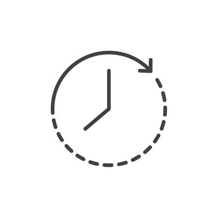 Passage of time outline icon. linear style sign for mobile concept and web design. Arrow around the clock simple line vector icon. Symbol, logo illustration. Pixel perfect vector graphics