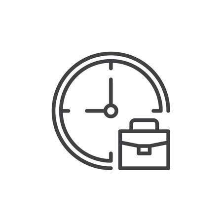 Clock and briefcase outline icon. linear style sign for mobile concept and web design. Work time simple line vector icon. Symbol, logo illustration. Pixel perfect vector graphics