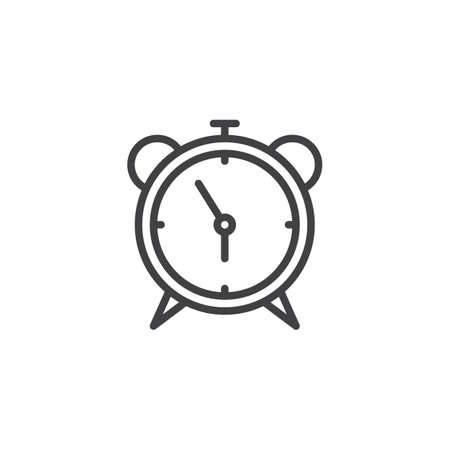 Alarm clock outline icon. linear style sign for mobile concept and web design. Watch time simple line vector icon. Symbol, logo illustration. Pixel perfect vector graphics 向量圖像
