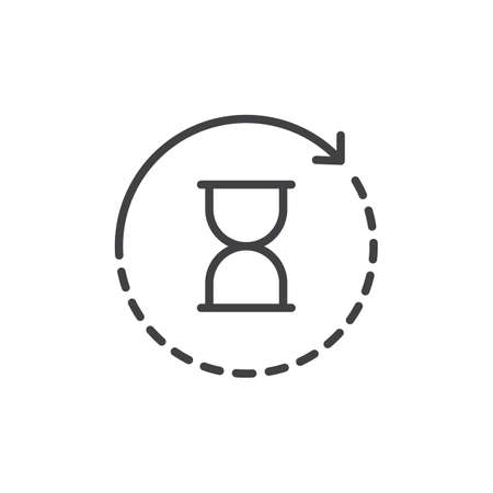 Hourglass with rotation arrow outline icon. linear style sign for mobile concept and web design. History simple line vector icon. Symbol, logo illustration. Pixel perfect vector graphics  イラスト・ベクター素材