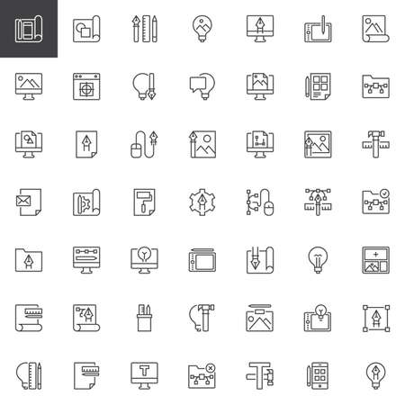 Creativity and design outline icons set. linear style symbols collection, line signs pack. vector graphics. Set includes icons as Workflow, Planning, Design tool, Idea, Computer, Monitor, File Illustration