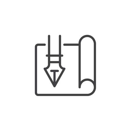 Scroll paper with fountain pen outline icon. linear style sign for mobile concept and web design. Planning simple line vector icon. Symbol, logo illustration. Pixel perfect vector graphics Vettoriali