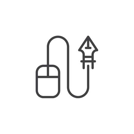 Computer mouse and ink pen nib outline icon. linear style sign for mobile concept and web design. Designer tool simple line vector icon. Symbol, logo illustration. Pixel perfect vector graphics Banco de Imagens