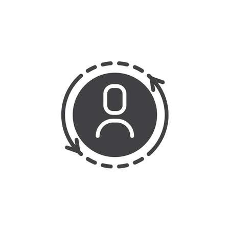 Usuario reemplazar icono de vector. signo plano lleno para concepto móvil y diseño web. Sustitución de un icono sólido de jugador. Símbolo, ilustración de logotipo. Gráficos vectoriales perfectos para píxeles