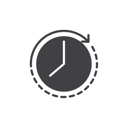 Passage of time vector icon. filled flat sign for mobile concept and web design. Arrow around the clock simple solid icon. Symbol, logo illustration. Pixel perfect vector graphics