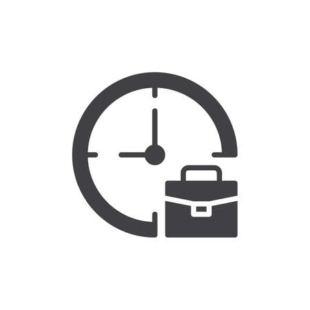 Clock and briefcase vector icon. filled flat sign for mobile concept and web design. Work time simple solid icon. Symbol, logo illustration. Pixel perfect vector graphics Stock Photo