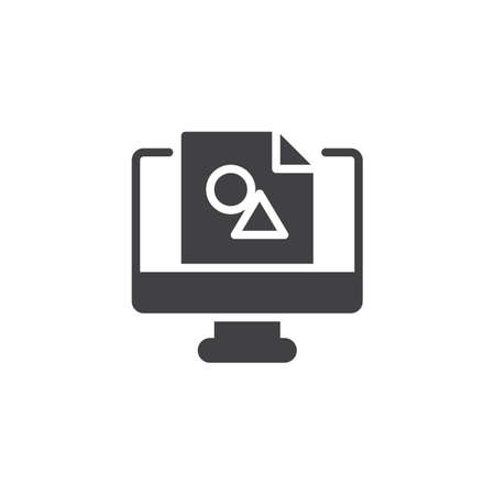 Design picture on computer monitor vector icon. filled flat sign for mobile concept and web design. Digital design solid icon. Symbol, logo illustration. Pixel perfect vector graphics