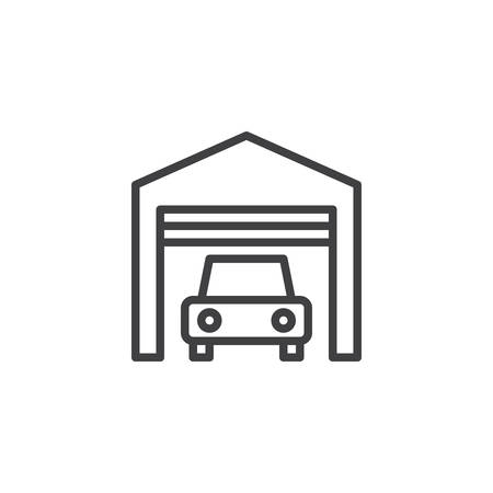 Car garage outline icon. linear style sign for mobile concept and web design. Internal parking simple line vector icon. Symbol, logo illustration. Pixel perfect vector graphics
