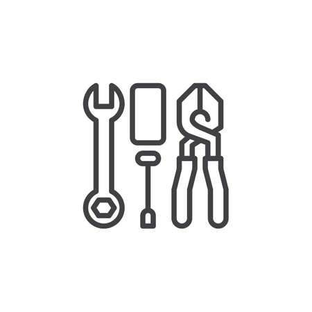 Wrench Screwdriver and Pliers outline icon. linear style sign for mobile concept and web design. Tools simple line vector icon. Symbol, logo illustration. Pixel perfect vector graphics