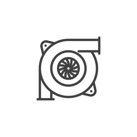 Car turbine outline icon. linear style sign for mobile concept and web design. Automobile turbo charger simple line vector icon. Symbol, logo illustration. Pixel perfect vector graphics