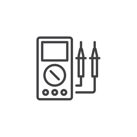 Voltmeter outline icon. linear style sign for mobile concept and web design. Electrical Test Meter simple line vector icon. Symbol, logo illustration. Pixel perfect vector graphics