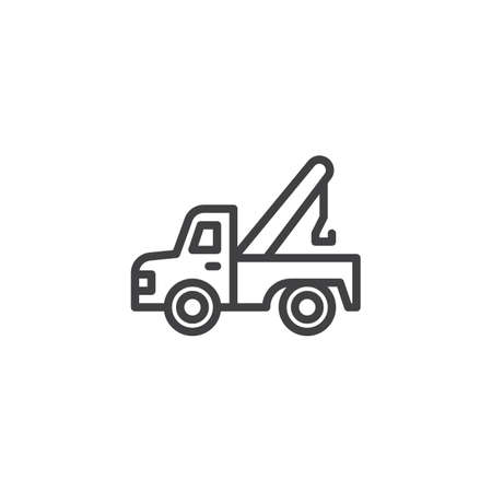 Tow truck outline icon. linear style sign for mobile concept and web design. Auto service simple line vector icon. Symbol, logo illustration. Pixel perfect vector graphics