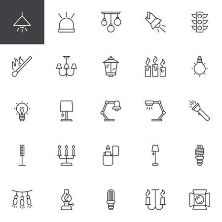 Light outline icons set. linear style symbols collection, line signs pack. vector graphics. Set includes icons as Lamp, Flasher, Traffic light, Match, Candles, Lightbulb, Flashlight, Lighter Lantern Illustration