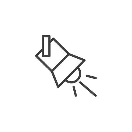 Suchscheinwerfer-Gliederungssymbol. lineares Stilzeichen für mobiles Konzept und Webdesign. Scheinwerfer einfaches Linienvektorsymbol. Symbol, Logoillustration. Pixel perfekte Vektorgrafiken