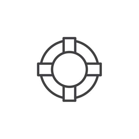 Lifebuoy outline icon. linear style sign for mobile concept and web design. Life guard simple line vector icon. Help symbol, logo illustration. Pixel perfect vector graphics Çizim
