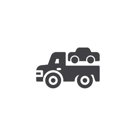 Towing truck vector icon. filled flat sign for mobile concept and web design. Transportation truck simple solid icon. Symbol, logo illustration. Pixel perfect vector graphics