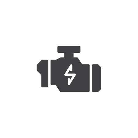 Überprüfen Sie das Vektor-Symbol des Motorwarnzeichens. gefülltes flaches Schild für mobiles Konzept und Webdesign. Technischer Service des Automotors einfaches festes Symbol. Symbol, Logoillustration. Vektorgrafiken