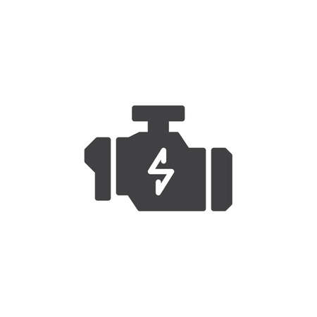 Check engine warning sign vector icon. filled flat sign for mobile concept and web design. Car engine technical service simple solid icon. Symbol, logo illustration. Vector graphics