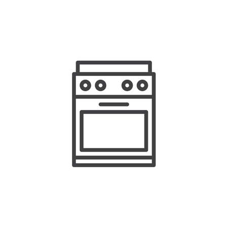 Kitchen stove outline icon. linear style sign for mobile concept and web design. Oven simple line vector icon. Symbol, logo illustration. Pixel perfect vector graphics Ilustração