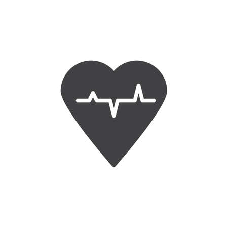Heart cardiogram vector icon. filled flat sign for mobile concept and web design. Heartbeat cardio simple solid icon. Heart pulse symbol, logo illustration. Pixel perfect vector graphics