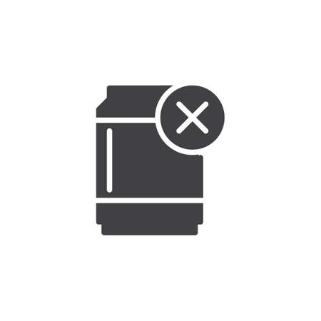 No sweet drinks vector icon. filled flat sign for mobile concept and web design. Tin can remove simple solid icon. Symbol, logo illustration. Pixel perfect vector graphics