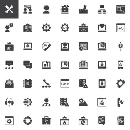 Tech support vector icons set, modern solid symbol collection, filled style pictogram pack. Signs, logo illustration. Set includes icons as Settings, Conversation, Customer support, Online Repair